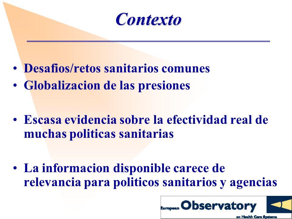 Contexto Desafios/retos sanitarios comunes Globalizacion de las presiones Escasa evidencia sobre la efectividad real de muchas politicas sanitarias La