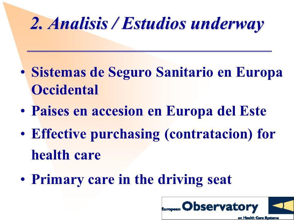 2. Analisis / Estudios underway Sistemas de Seguro Sanitario en Europa Occidental Paises en accesion en Europa del Este Effective purchasing (contrata