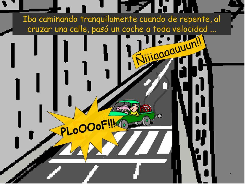 Iba caminando tranquilamente cuando de repente, al cruzar una calle, pasó un coche a toda velocidad... Ñiiiaaaauuun!! PLoOOoF!!!