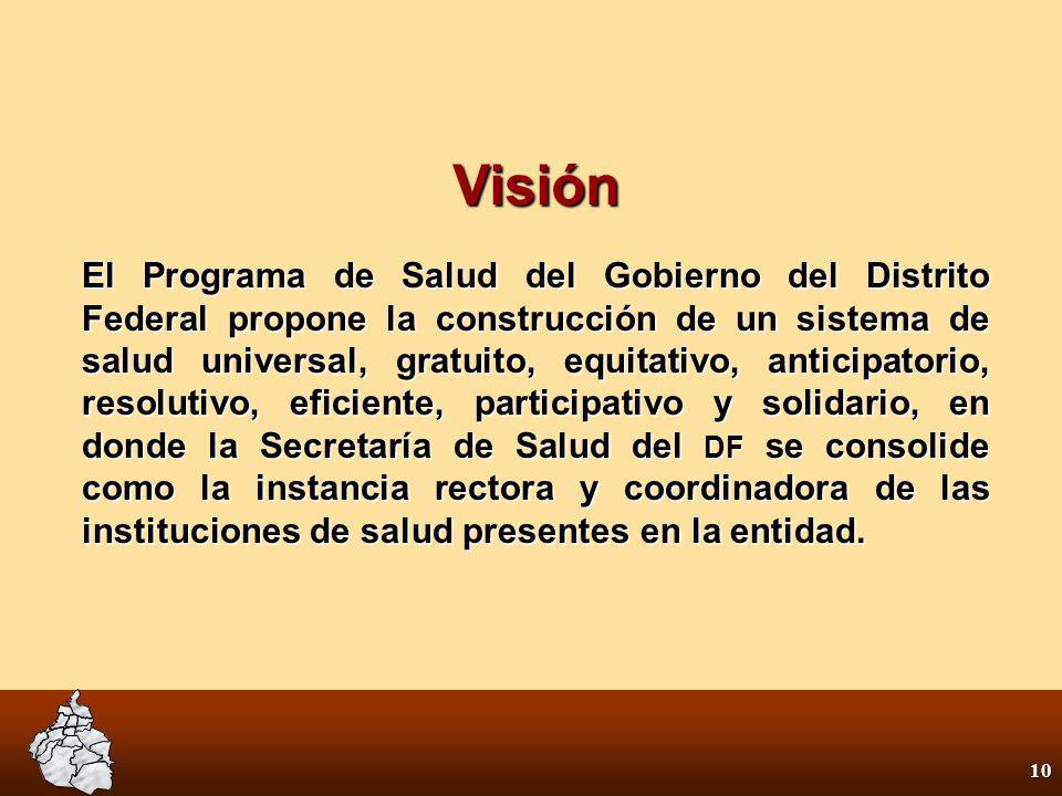 9 Misión Hacer realidad el derecho a la protección de la salud y avanzar en la vigencia de la gratuidad, la universalidad y la integralidad en la atención de la salud, construyendo el camino para asegurar este derecho, a partir del fortalecimiento de los servicios públicos y su financiamiento solidario.