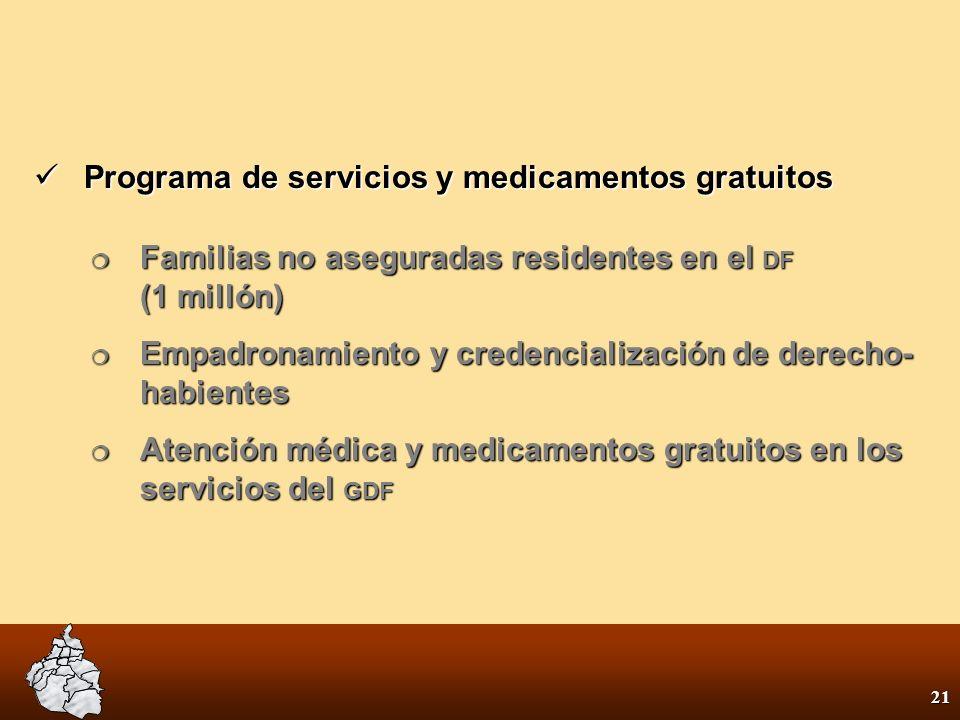 20 Remover el obstáculo económico al tratamiento adecuado Alcanzar la cobertura universal de toda la población junto con la seguridad social 1. Gratui