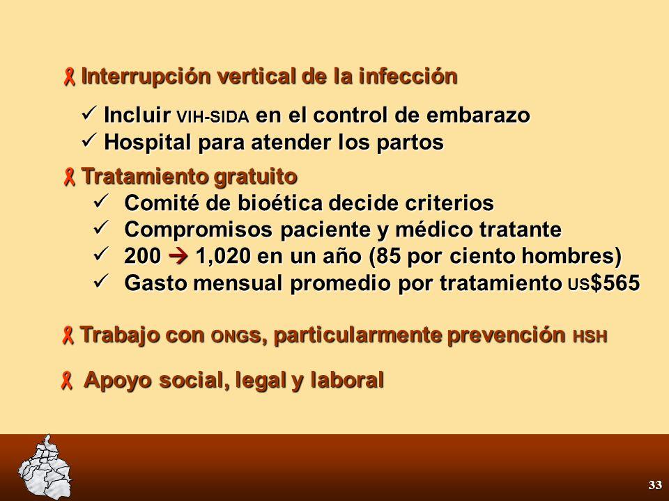 32 Programa Integral VIH/Sida Desestigmatizar la infección Desestigmatizar la infección Conocer la magnitud de la epidemia Conocer la magnitud de la epidemia 13,000 casos registrados 13,000 casos registrados 623 muertes en el 2000 623 muertes en el 2000 3.5 por ciento positivos en Centros de Consejería y Diagnóstico Voluntario y Gratuito 3.5 por ciento positivos en Centros de Consejería y Diagnóstico Voluntario y Gratuito 33 por ciento positivos clínica especializada 33 por ciento positivos clínica especializada 20 Centros de Consejería y Diagnóstico Voluntario 20 Centros de Consejería y Diagnóstico Voluntario
