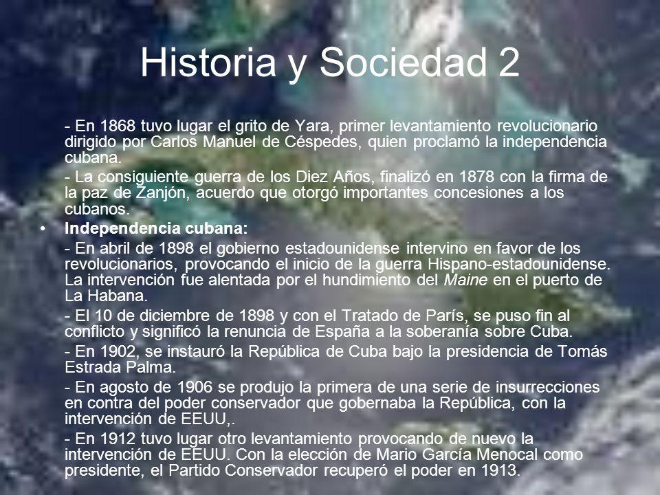 Historia y Sociedad 2 - En 1868 tuvo lugar el grito de Yara, primer levantamiento revolucionario dirigido por Carlos Manuel de Céspedes, quien proclam