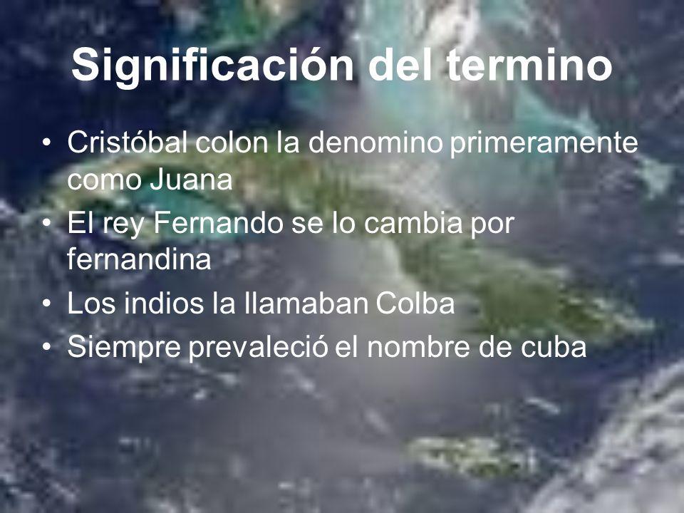 Significación del termino Cristóbal colon la denomino primeramente como Juana El rey Fernando se lo cambia por fernandina Los indios la llamaban Colba