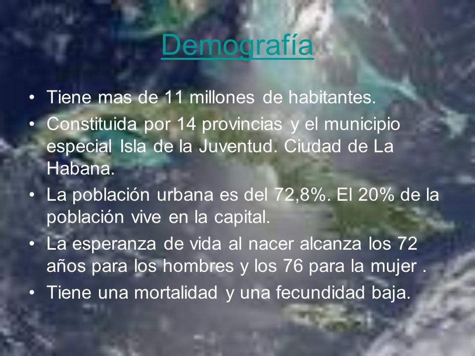 Demografía Tiene mas de 11 millones de habitantes. Constituida por 14 provincias y el municipio especial Isla de la Juventud. Ciudad de La Habana. La
