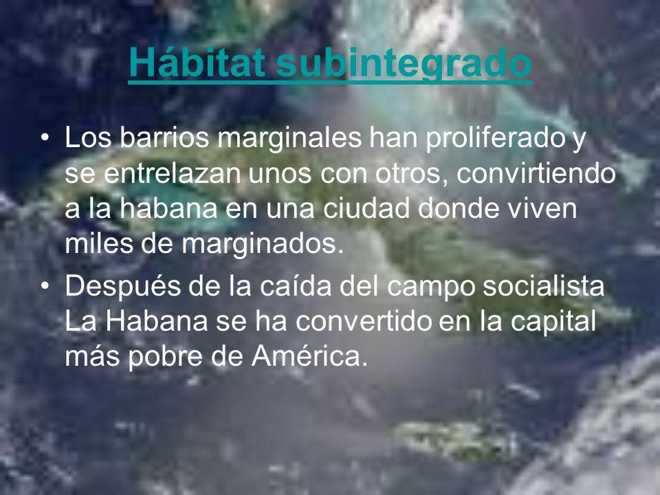 Hábitat subintegrado Los barrios marginales han proliferado y se entrelazan unos con otros, convirtiendo a la habana en una ciudad donde viven miles d