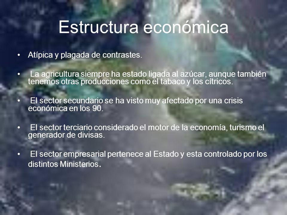 Estructura económica Atípica y plagada de contrastes. La agricultura siempre ha estado ligada al azúcar, aunque también tenemos otras producciones com