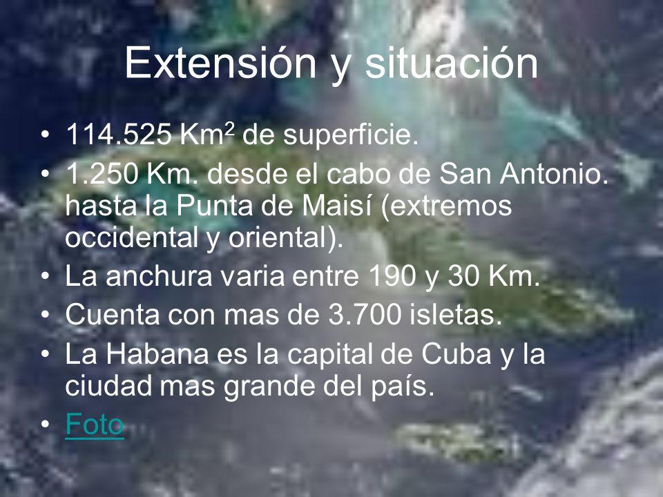Extensión y situación 114.525 Km 2 de superficie. 1.250 Km. desde el cabo de San Antonio. hasta la Punta de Maisí (extremos occidental y oriental). La