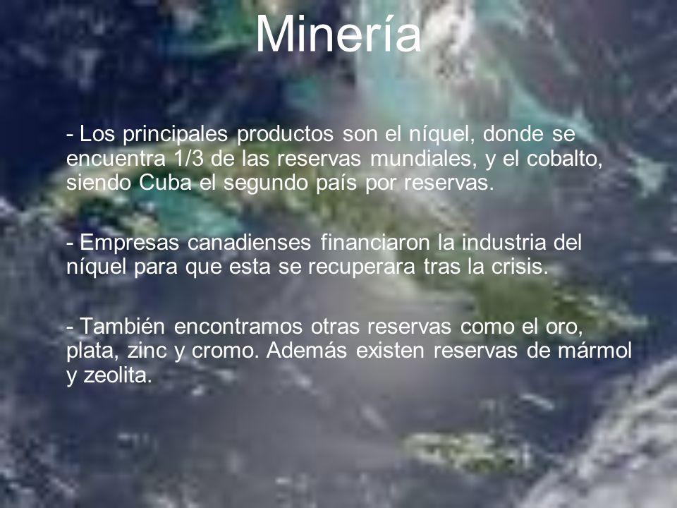 Minería - Los principales productos son el níquel, donde se encuentra 1/3 de las reservas mundiales, y el cobalto, siendo Cuba el segundo país por res