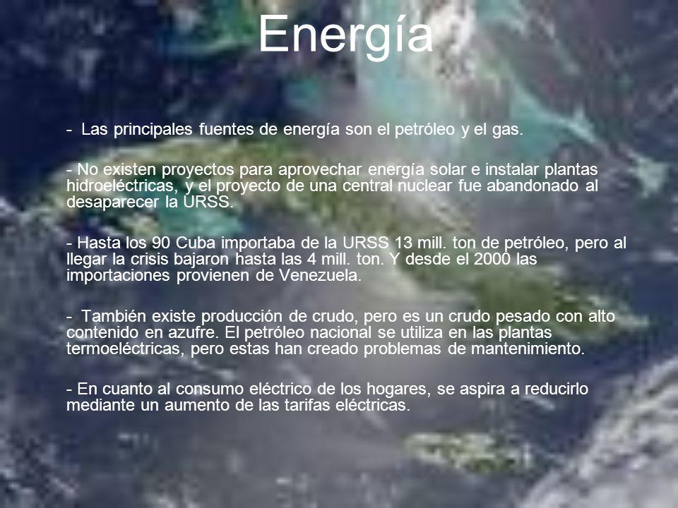 Energía - Las principales fuentes de energía son el petróleo y el gas. - No existen proyectos para aprovechar energía solar e instalar plantas hidroel