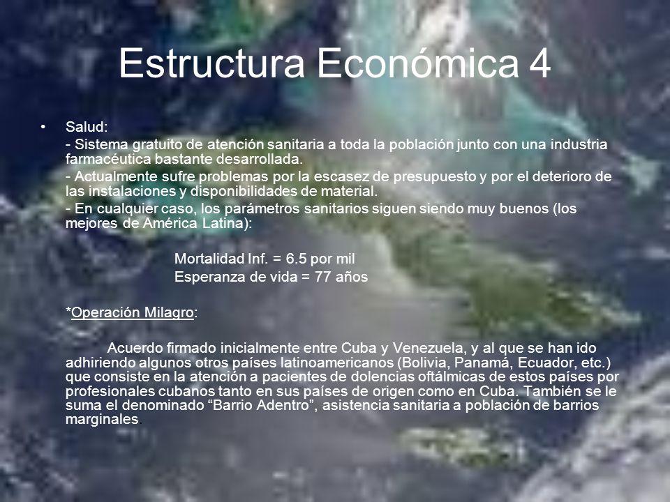Estructura Económica 4 Salud: - Sistema gratuito de atención sanitaria a toda la población junto con una industria farmacéutica bastante desarrollada.