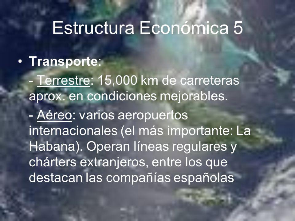 Estructura Económica 5 Transporte: - Terrestre: 15,000 km de carreteras aprox. en condiciones mejorables. - Aéreo: varios aeropuertos internacionales
