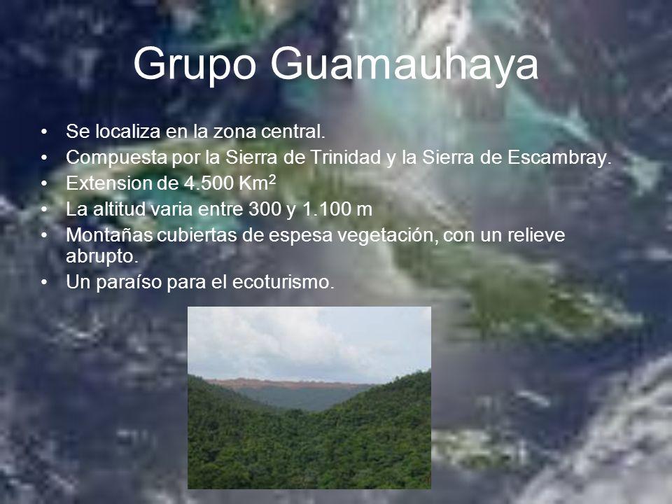 Grupo Guamauhaya Se localiza en la zona central. Compuesta por la Sierra de Trinidad y la Sierra de Escambray. Extension de 4.500 Km 2 La altitud vari