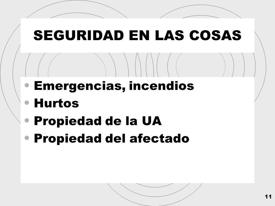 11 SEGURIDAD EN LAS COSAS Emergencias, incendios Hurtos Propiedad de la UA Propiedad del afectado