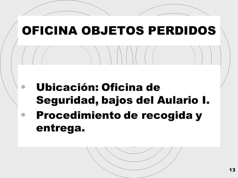 13 OFICINA OBJETOS PERDIDOS Ubicación: Oficina de Seguridad, bajos del Aulario I.