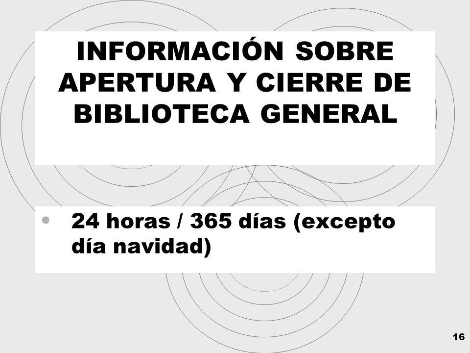 16 INFORMACIÓN SOBRE APERTURA Y CIERRE DE BIBLIOTECA GENERAL 24 horas / 365 días (excepto día navidad)