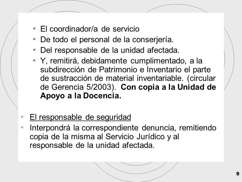 9 El coordinador/a de servicio De todo el personal de la conserjería.