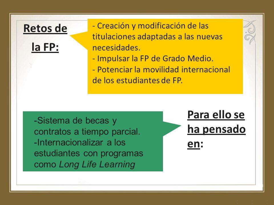 Retos de la FP: - Creación y modificación de las titulaciones adaptadas a las nuevas necesidades. - Impulsar la FP de Grado Medio. - Potenciar la movi