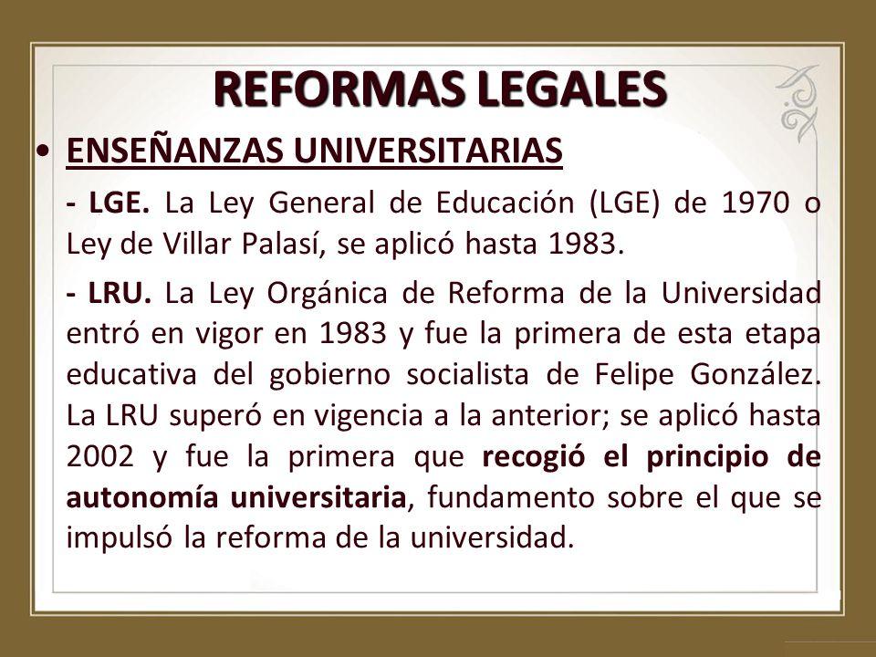 ENSEÑANZAS UNIVERSITARIAS - LGE. La Ley General de Educación (LGE) de 1970 o Ley de Villar Palasí, se aplicó hasta 1983. - LRU. La Ley Orgánica de Ref