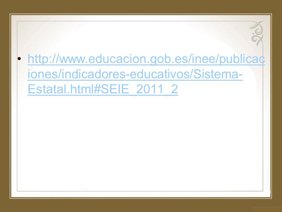 http://www.educacion.gob.es/inee/publicac iones/indicadores-educativos/Sistema- Estatal.html#SEIE_2011_2http://www.educacion.gob.es/inee/publicac ione