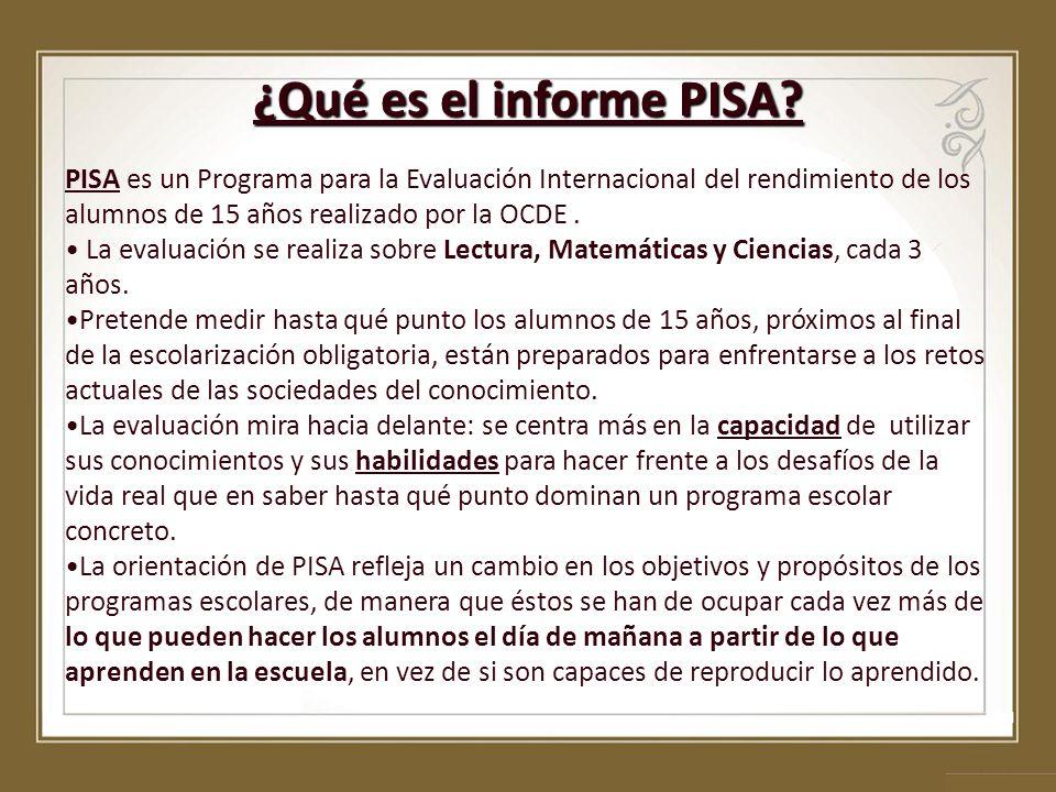 ¿Qué es el informe PISA? PISA es un Programa para la Evaluación Internacional del rendimiento de los alumnos de 15 años realizado por la OCDE. La eval