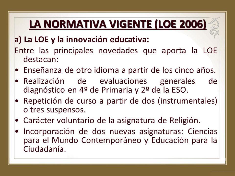 LA NORMATIVA VIGENTE (LOE 2006) a) La LOE y la innovación educativa: Entre las principales novedades que aporta la LOE destacan: Enseñanza de otro idi