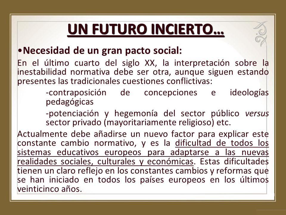 UN FUTURO INCIERTO… Necesidad de un gran pacto social: En el último cuarto del siglo XX, la interpretación sobre la inestabilidad normativa debe ser o
