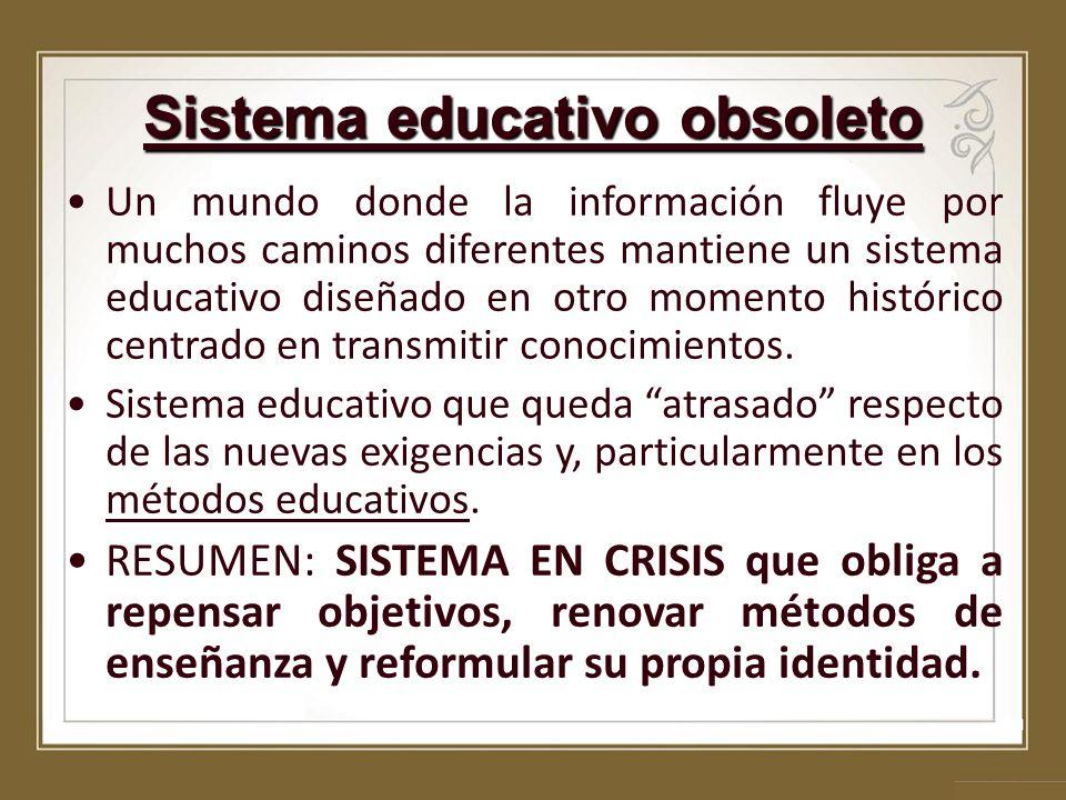 Sistema educativo obsoleto Un mundo donde la información fluye por muchos caminos diferentes mantiene un sistema educativo diseñado en otro momento hi