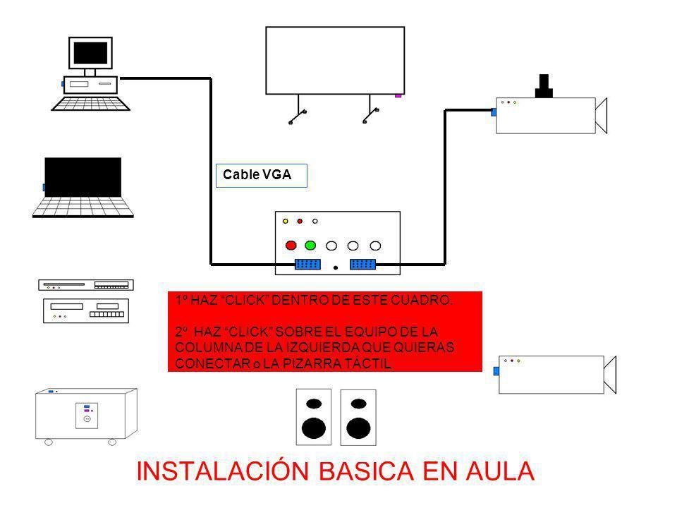 CONEXIÓN PIZARRA TÁCTIL + PC DEL ARMARIO MULTIMEDIA (con AUDIO del propio Armario) + VIDEOPROYECTOR DE TECHO Cable especial de la pizarra (RS232+PS/2) Haz simple CLICK para ver conexión de PIZARRA TÁCTIL + PC FIJO + VIDEOPROYECTOR PORTÁTIL) Cable VGA CONEXIÓN PIZARRA TÁCTIL + PC FIJO + VIDEOPROYECTOR PORTÁTIL Cable VGA LA IMAGEN DEL VIDEOPROYECTOR DEBE QUEDAR CENTRADA SOBRE LA SUPERFICIE DE LA PANTALLA TÁCTIL CONFIGURAR EL SOFTWARE: 1ª INICIO - PROGRAMAS - SMART BOARD- SMART BOARD DRIVERS - PANEL DE CONTROL CLICK 2ªCONFIGURAR HARDWARE SMART BOARD 3ºDETECTAR HARDWARE 4º NO PERTENECE A NINGUNO DE LA LISTA CLICK 5º SELECCIONAR EL CABLE CON EL QUE HEMOS CONECTADO (SERIE NORMALMENTE) 6º COMPROBAR HA INSTALADO EL DRIVER Y QUE TENEMOS EL LED VERDE EN LA PANTALLA ENCENDIDO.