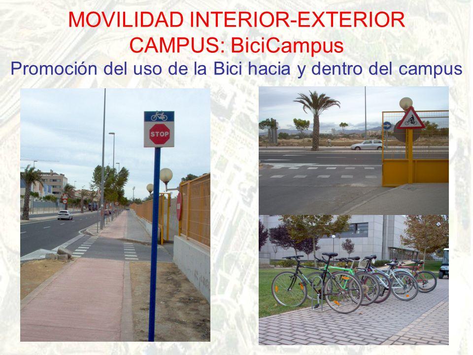 MOVILIDAD INTERIOR-EXTERIOR CAMPUS: BiciCampus Promoción del uso de la Bici hacia y dentro del campus