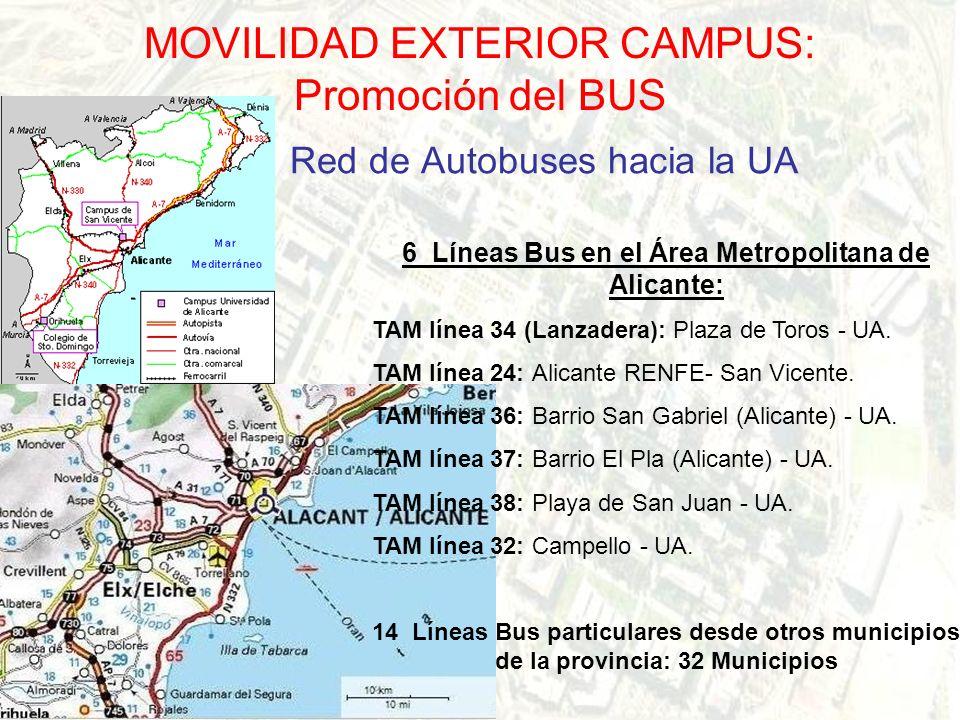 MOVILIDAD EXTERIOR CAMPUS: Promoción del BUS Red de Autobuses hacia la UA 6 Líneas Bus en el Área Metropolitana de Alicante: TAM línea 34 (Lanzadera): Plaza de Toros - UA.