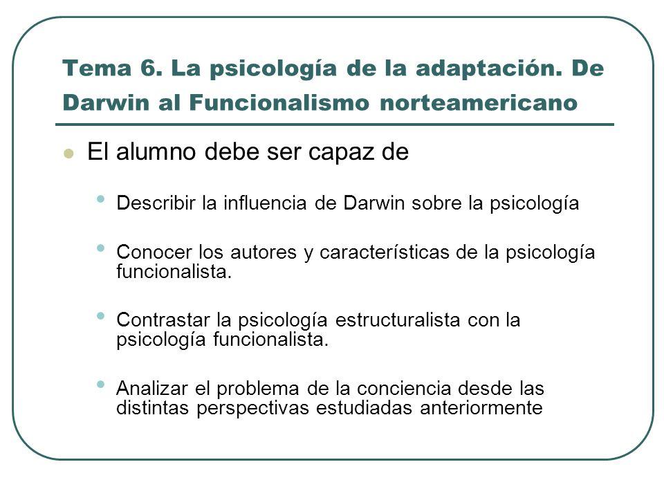 Tema 6. La psicología de la adaptación. De Darwin al Funcionalismo norteamericano El alumno debe ser capaz de Describir la influencia de Darwin sobre