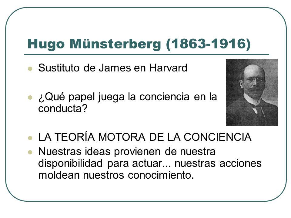 Hugo Münsterberg (1863-1916) Sustituto de James en Harvard ¿Qué papel juega la conciencia en la conducta? LA TEORÍA MOTORA DE LA CONCIENCIA Nuestras i