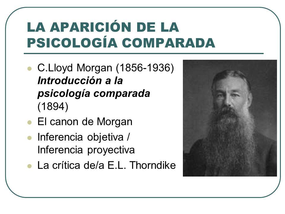 LA APARICIÓN DE LA PSICOLOGÍA COMPARADA C.Lloyd Morgan (1856-1936) Introducción a la psicología comparada (1894) El canon de Morgan Inferencia objetiv