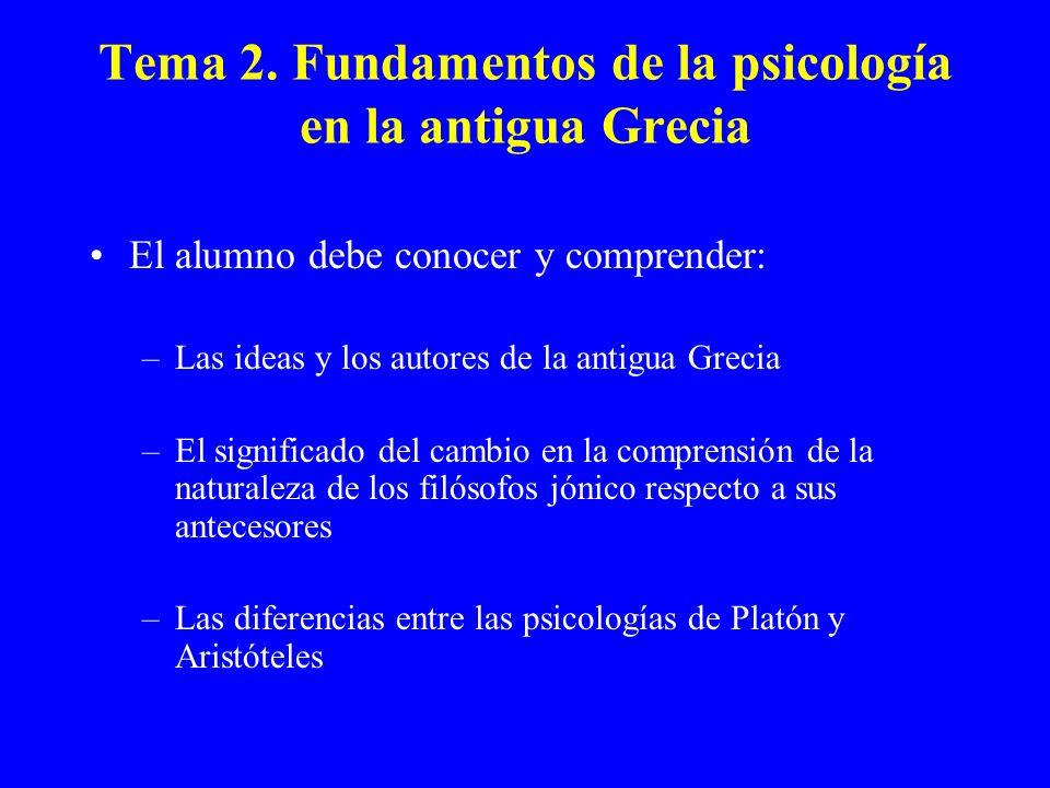 Tema 2. Fundamentos de la psicología en la antigua Grecia El alumno debe conocer y comprender: –Las ideas y los autores de la antigua Grecia –El signi