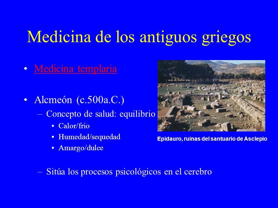 Medicina de los antiguos griegos Medicina templaria Alcmeón (c.500a.C.) –Concepto de salud: equilibrio Calor/frio Humedad/sequedad Amargo/dulce –Sitúa