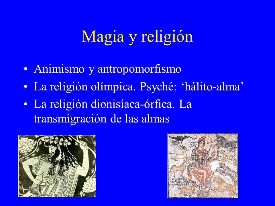 Magia y religión Animismo y antropomorfismo La religión olímpica. Psyché: hálito-alma La religión dionisíaca-órfica. La transmigración de las almas