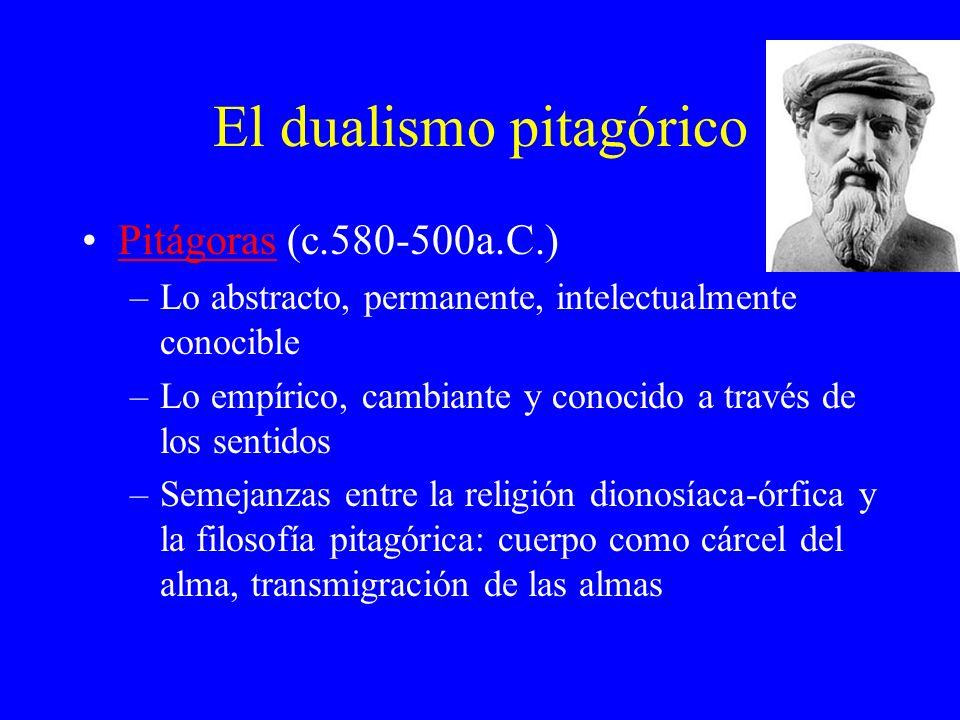 El dualismo pitagórico Pitágoras (c.580-500a.C.)Pitágoras –Lo abstracto, permanente, intelectualmente conocible –Lo empírico, cambiante y conocido a t