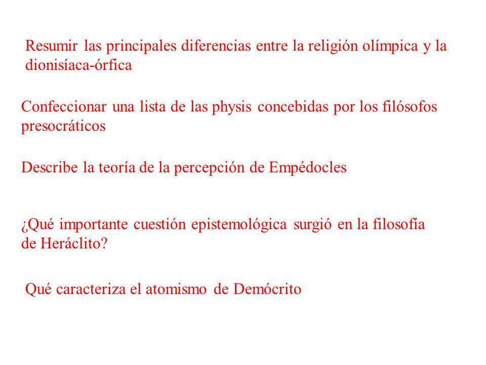 Resumir las principales diferencias entre la religión olímpica y la dionisíaca-órfica Confeccionar una lista de las physis concebidas por los filósofo