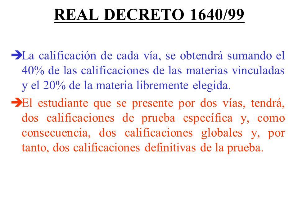 REAL DECRETO 1640/99 Si el estudiante se presenta por dos vías, deberá examinarse únicamente de las cuatro materias vinculadas a las correspondientes