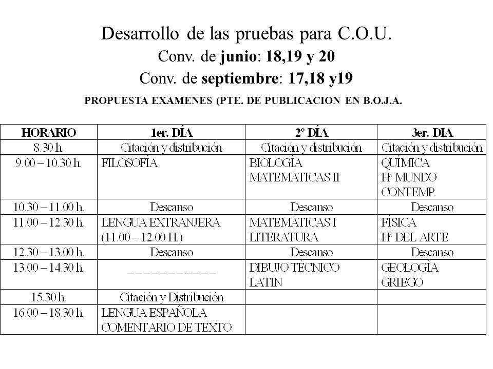 Desarrollo de las pruebas para Bachillerato. Conv. de junio: 18,19 y 20 Conv. de septiembre: 17,18 y19 PROPUESTA DE EXAMENES (PTE.PUBLICACIÓN EN B.O.J