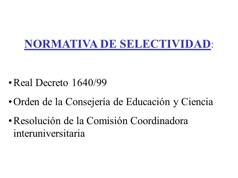 NORMATIVA DE SELECTIVIDAD : Real Decreto 1640/99 Orden de la Consejería de Educación y Ciencia Resolución de la Comisión Coordinadora interuniversitaria
