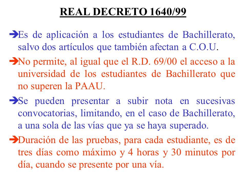 REAL DECRETO 1640/99 Es de aplicación a los estudiantes de Bachillerato, salvo dos artículos que también afectan a C.O.U.