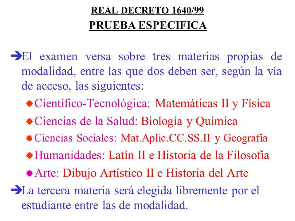 REAL DECRETO 1640/99 Consta de tres ejercicios: 1º: Composición de un texto sobre un tema o cuestión de tipo histórico o filosófico. 2º: Análisis de t
