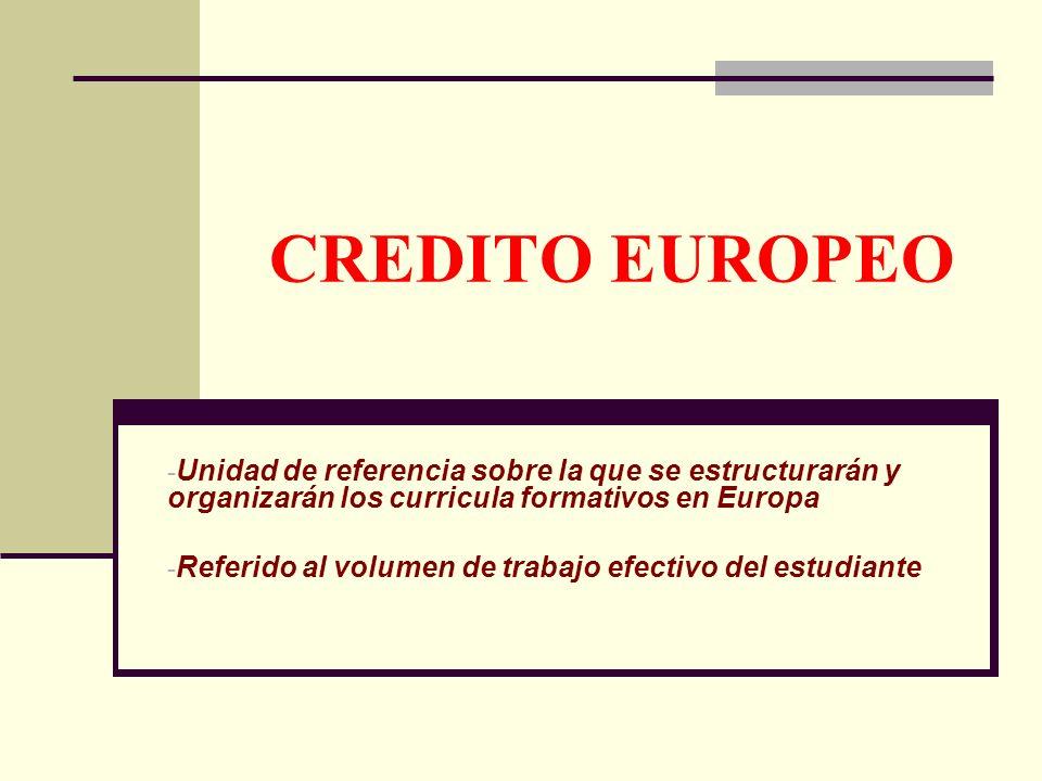 CREDITO EUROPEO - Unidad de referencia sobre la que se estructurarán y organizarán los curricula formativos en Europa - Referido al volumen de trabajo efectivo del estudiante