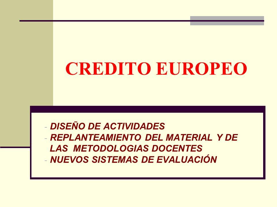 CREDITO EUROPEO - DISEÑO DE ACTIVIDADES - REPLANTEAMIENTO DEL MATERIAL Y DE LAS METODOLOGIAS DOCENTES - NUEVOS SISTEMAS DE EVALUACIÓN