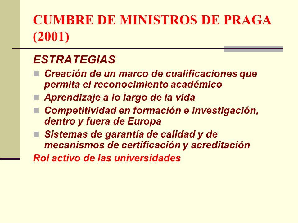 CUMBRE DE MINISTROS DE PRAGA (2001) ESTRATEGIAS Creación de un marco de cualificaciones que permita el reconocimiento académico Aprendizaje a lo largo de la vida Competitividad en formación e investigación, dentro y fuera de Europa Sistemas de garantía de calidad y de mecanismos de certificación y acreditación Rol activo de las universidades