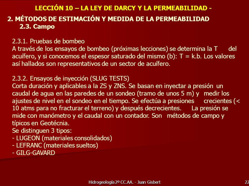 Hidrogeología 2º CC.AA. - Juan Gisbert 22 LECCIÓN 10 – LA LEY DE DARCY Y LA PERMEABILIDAD - 2. MÉTODOS DE ESTIMACIÓN Y MEDIDA DE LA PERMEABILIDAD 2.3.