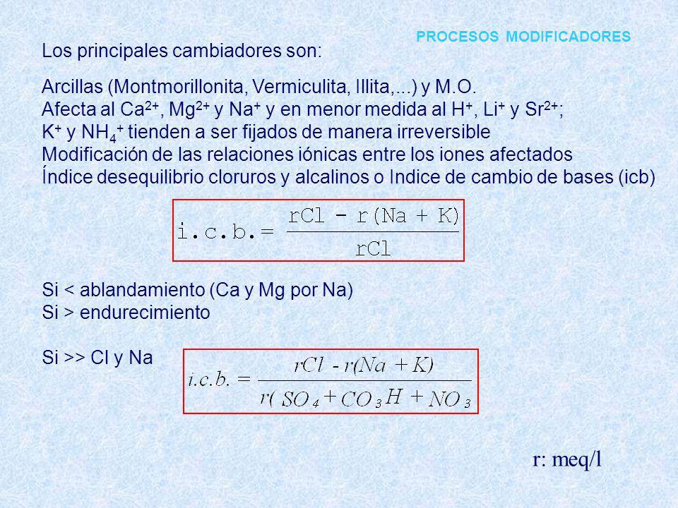 Los principales cambiadores son: Arcillas (Montmorillonita, Vermiculita, Illita,...) y M.O. Afecta al Ca 2+, Mg 2+ y Na + y en menor medida al H +, Li