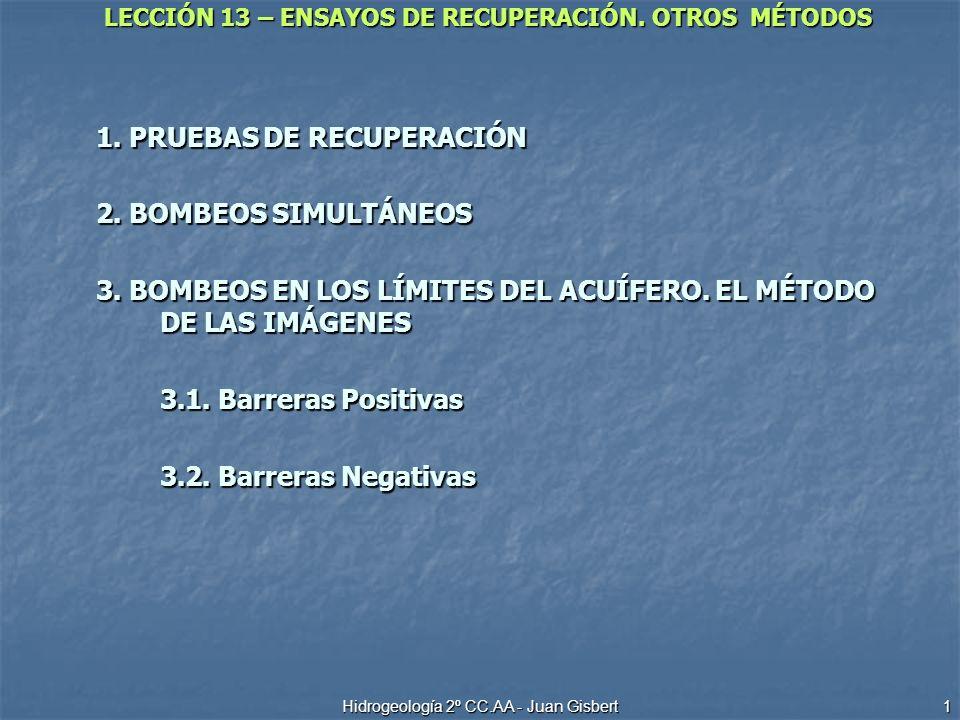 LECCIÓN 13 – ENSAYOS DE RECUPERACIÓN. OTROS MÉTODOS Hidrogeología 2º CC.AA - Juan Gisbert 1 1. PRUEBAS DE RECUPERACIÓN 2. BOMBEOS SIMULTÁNEOS 3. BOMBE